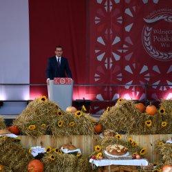 """Premier Mateusz Morawiecki podczas obchodów III Edycji Ogólnopolskiego Święto """"Wdzięczni Polskiej Wsi"""""""