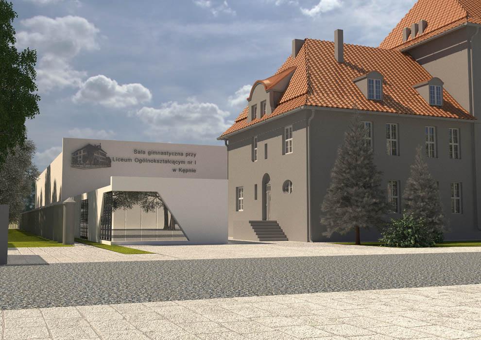 Wizualizacja projektowanego budynku sali sportowej